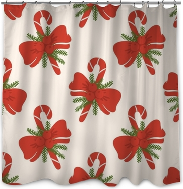 Vintage Red Candy Cane And Bow Christmas Seamless Pattern Shower Curtain