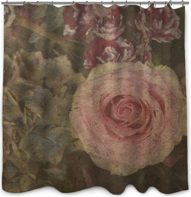 vintage wallpaper background with rose Shower Curtain • Pixers® • We ...