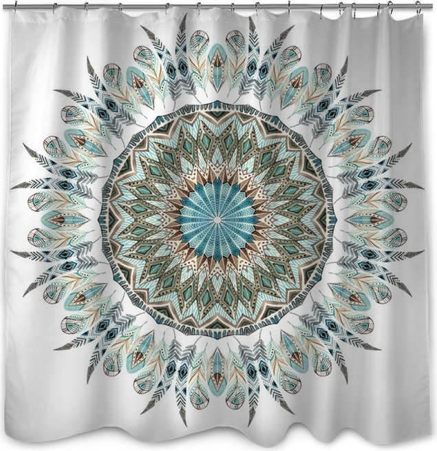 Watercolor Ethnic Feathers Abstract Mandala Shower Curtain