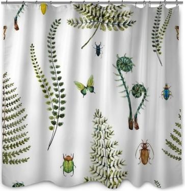 Watercolor fern pattern Shower Curtain