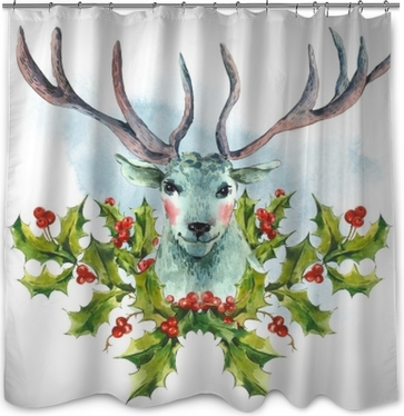 Watercolor greeting card, Snow white deer with Holly Shower Curtain