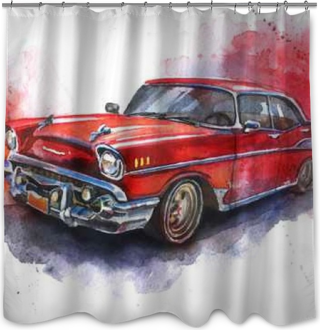 Watercolor hand-drawn old-fashioned red car Shower Curtain • Pixers ...