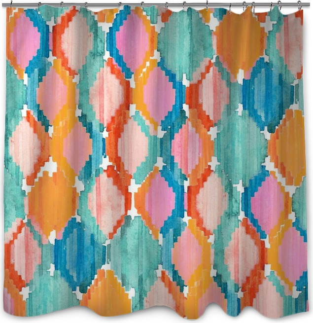 Watercolor Ikat Seamless Pattern Vibrant Ethnic Rhombus Shower Curtain