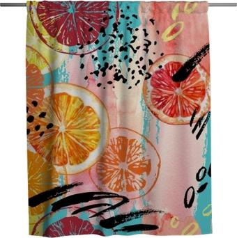 Watercolor orange, lemon, grapefruit seamless pattern. Shower Curtain