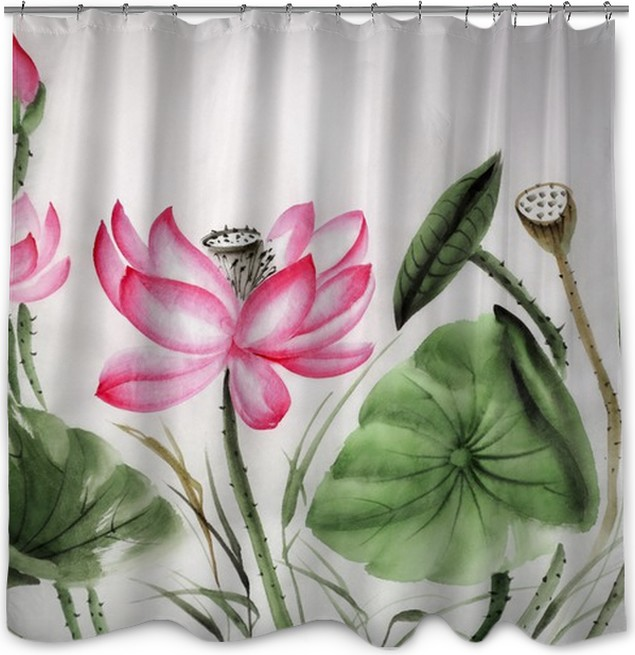 Watercolor Painting Of Pink Lotus Shower Curtain