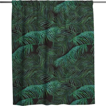 Watercolor palm leaves saemless pattern on dark background. Shower Curtain