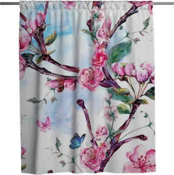 Watercolor seamless pattern with flowers apricot tree branches Shower Curtain