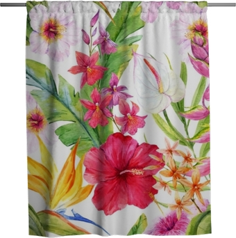 Watercolor tropical floral pattern Shower Curtain
