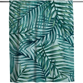 Watercolor tropical palm leaves seamless pattern. Vector illustration. Shower Curtain