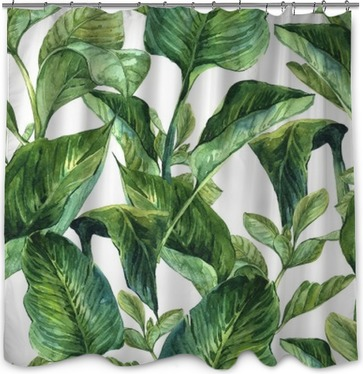 Watercolor with tropical leaves Shower Curtain