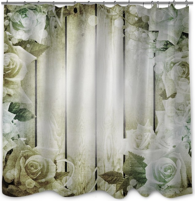 Wedding vintage romantic background with roses Shower Curtain ...
