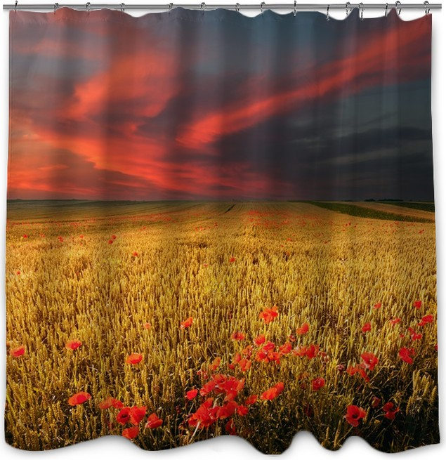 Wheat field and poppies at sunset Shower Curtain • Pixers® • We live ...