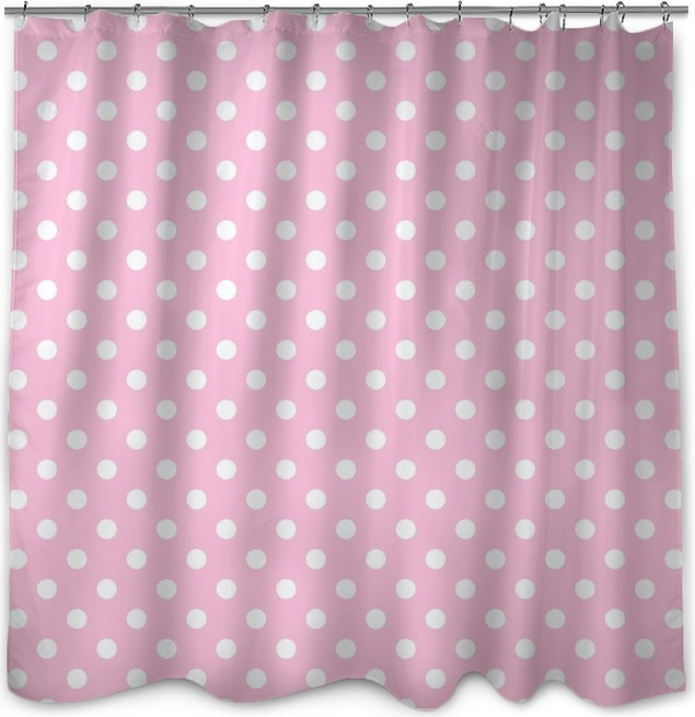 White Polka Dots On Pale Pink Shower Curtain