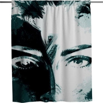 woman portrait .abstract watercolor Shower Curtain
