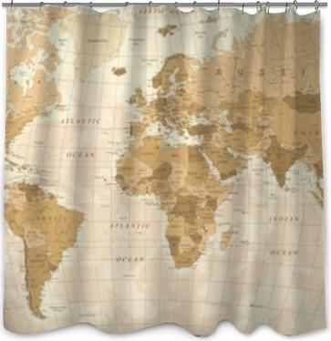World Map Vintage Vector Shower Curtain