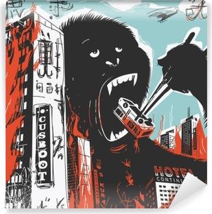Självhäftande Fototapet Big gorilla förstör Ort