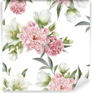 Självhäftande Fototapet Blommigt sömlöst mönster med peonies och hellebore
