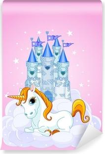 Självhäftande Fototapet Castle och Unicorn