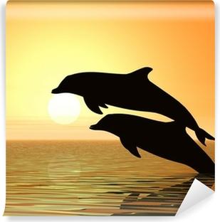 Självhäftande Fototapet Delfiner och solnedgång