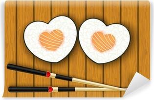 Självhäftande Fototapet Hjärtformade sushi och ätpinnar