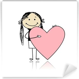 4cdf7283a77c Självhäftande Fototapet Söt flicka med valentinhjärta, plats för din text