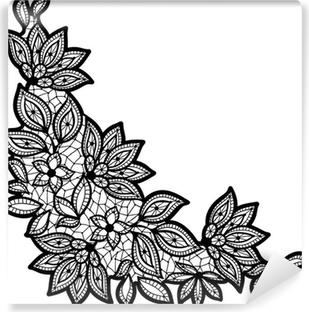 Canvastavla Svart och spets blommönster isolerade på vitt. • Pixers ... 8c47ac8432203