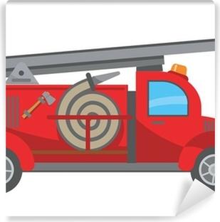 Självhäftande Fototapet Tecknad brandbil