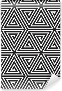 Självhäftande Fototapet Trianglar, svart och vitt abstrakt Seamless geometriska mönster,