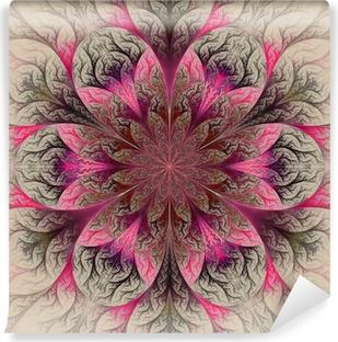 Självhäftande Fototapet Vacker fractalblomma i rött, rosa och grått. dator gene