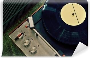 Självhäftande Fototapet Vintage grammofon med vinyl rekord