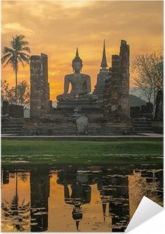 Självhäftande Poster Buddha staty i Wat Mahathat tempel, Sukhothai Historical Park,