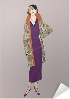 Självhäftande Poster Flapper flickor (20-tals stil): Retro mode party