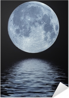 Självhäftande Poster Fullmåne över vatten