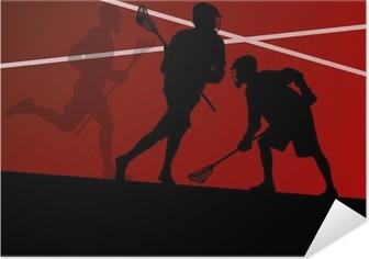 Självhäftande Poster Lacrosse spelare aktiva idrotts silhuetter bakgrund illustrati