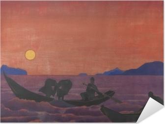 Självhäftande Poster Nikolaj Rjorich - En we gaan door met vissen