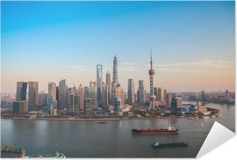 Självhäftande Poster Shanghai Lujiazui panoramavy