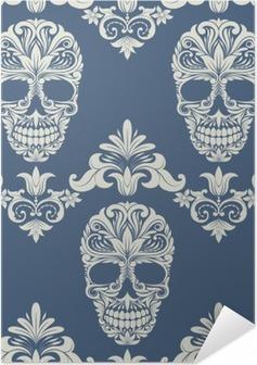 Självhäftande Poster Skallen Swirl Dekorativa Mönster