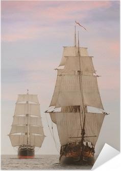 Självhäftande Poster Tall trä vintage segelfartyg