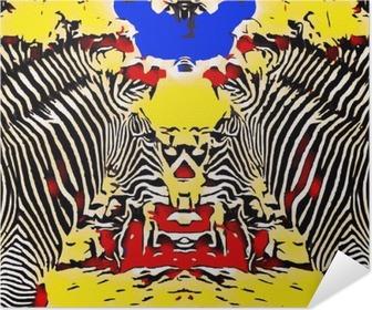 Självhäftande Poster Teckning och målning sebror med röd gul och blå bakgrund