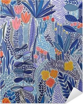 Självhäftande Poster Tropiska sömlösa blommönster