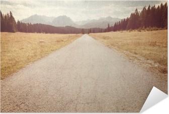 Självhäftande Poster Väg mot bergen - Vintage avbildar