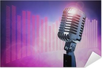 Självhäftande Poster Vintage mikrofon på scen