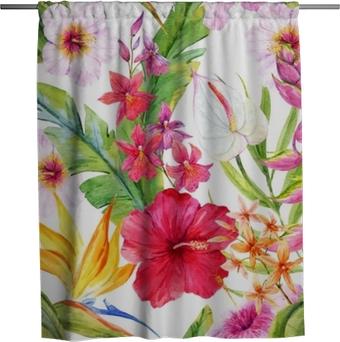 Sprchový závěs Akvarel tropické květinovým vzorem