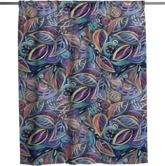 Sprchový závěs Barevné pozadí s listy, akrylové malování. abstraktní olistění bezešvé vzorek pozadí pro váš design tapety, vzor výplně, webové stránky pozadí, textury povrchu.
