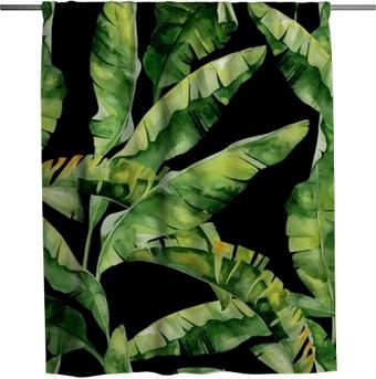 Sprchový závěs Bezešvé akvarel ilustrace tropických listů, hustá džungle. Vzor s tropickým letním motivem lze použít jako texturu pozadí, balicí papír, textilní design, tapety. Banánové palmové listy