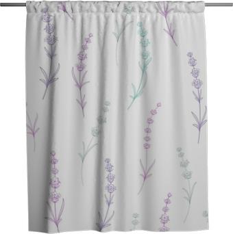 Sprchový závěs Bezešvé vzor levandule květiny na bílém pozadí. akvarelový vzor s levandulem pro balení. vektorové ilustrace.