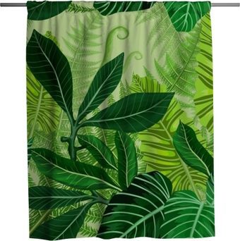 Sprchový závěs Bezproblémový vzor s tropickými palmovými listy