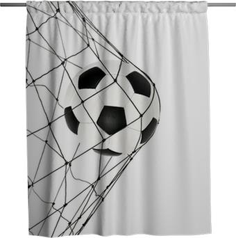 Sprchový závěs Fotbalový míč v čisté bráně