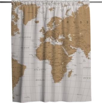 Sprchový závěs Mapa světa vinobraní vektor