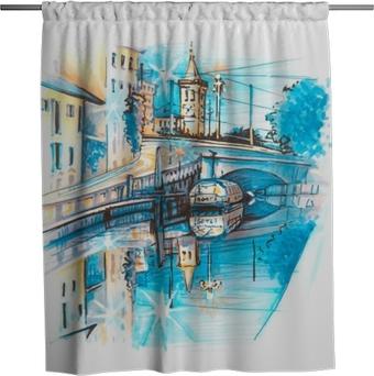 Sprchový závěs Most v kanálu naviglio grande při východu slunce, milan, lombardie, itálie. náčrtem vytvořené vložky a značky